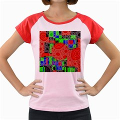 Background With Fractal Digital Cubist Drawing Women s Cap Sleeve T Shirt by Simbadda