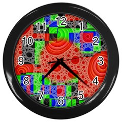 Background With Fractal Digital Cubist Drawing Wall Clocks (black) by Simbadda