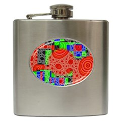 Background With Fractal Digital Cubist Drawing Hip Flask (6 Oz) by Simbadda