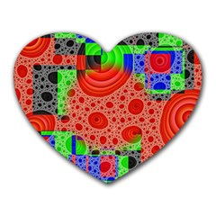 Background With Fractal Digital Cubist Drawing Heart Mousepads