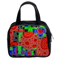 Background With Fractal Digital Cubist Drawing Classic Handbags (2 Sides)