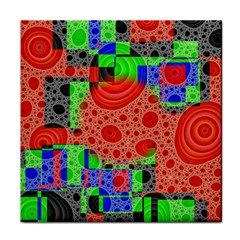 Background With Fractal Digital Cubist Drawing Face Towel by Simbadda