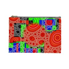 Background With Fractal Digital Cubist Drawing Cosmetic Bag (large)  by Simbadda