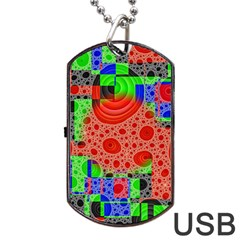 Background With Fractal Digital Cubist Drawing Dog Tag Usb Flash (two Sides) by Simbadda