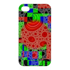 Background With Fractal Digital Cubist Drawing Apple Iphone 4/4s Premium Hardshell Case by Simbadda