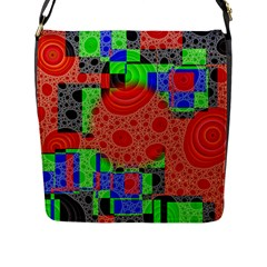 Background With Fractal Digital Cubist Drawing Flap Messenger Bag (l)  by Simbadda