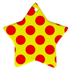 Polka Dot Red Yellow Ornament (star)