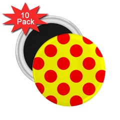 Polka Dot Red Yellow 2 25  Magnets (10 Pack)  by Mariart