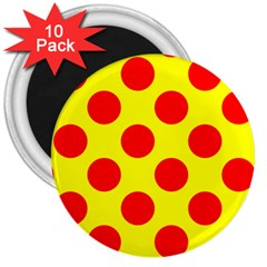 Polka Dot Red Yellow 3  Magnets (10 Pack)