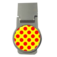 Polka Dot Red Yellow Money Clips (round)  by Mariart