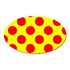 Polka Dot Red Yellow Oval Magnet by Mariart
