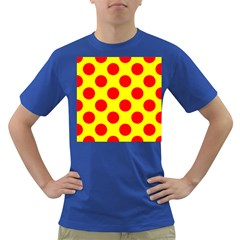 Polka Dot Red Yellow Dark T Shirt by Mariart