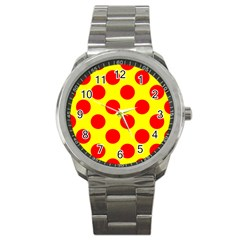 Polka Dot Red Yellow Sport Metal Watch by Mariart