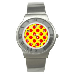 Polka Dot Red Yellow Stainless Steel Watch