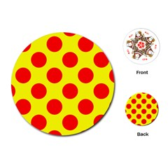 Polka Dot Red Yellow Playing Cards (round)  by Mariart