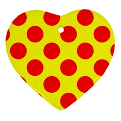 Polka Dot Red Yellow Heart Ornament (two Sides) by Mariart