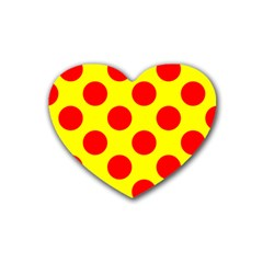 Polka Dot Red Yellow Heart Coaster (4 Pack)  by Mariart
