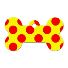 Polka Dot Red Yellow Dog Tag Bone (one Side) by Mariart