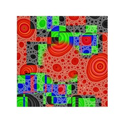 Background With Fractal Digital Cubist Drawing Small Satin Scarf (square) by Simbadda