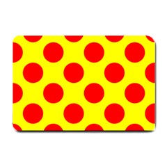 Polka Dot Red Yellow Small Doormat  by Mariart