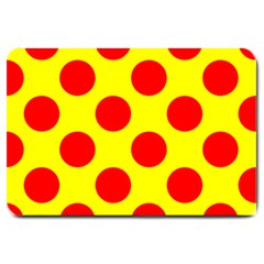 Polka Dot Red Yellow Large Doormat