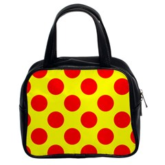 Polka Dot Red Yellow Classic Handbags (2 Sides) by Mariart