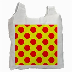Polka Dot Red Yellow Recycle Bag (one Side)