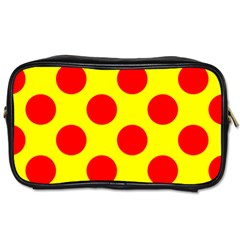 Polka Dot Red Yellow Toiletries Bags 2 Side by Mariart