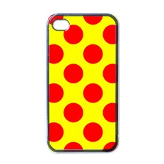 Polka Dot Red Yellow Apple Iphone 4 Case (black) by Mariart