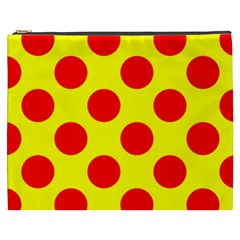 Polka Dot Red Yellow Cosmetic Bag (xxxl)  by Mariart
