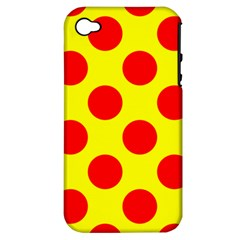 Polka Dot Red Yellow Apple Iphone 4/4s Hardshell Case (pc+silicone) by Mariart