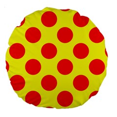 Polka Dot Red Yellow Large 18  Premium Round Cushions by Mariart