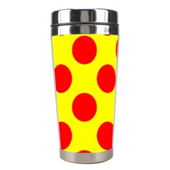 Polka Dot Red Yellow Stainless Steel Travel Tumblers by Mariart