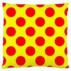Polka Dot Red Yellow Standard Flano Cushion Case (one Side) by Mariart