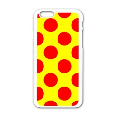 Polka Dot Red Yellow Apple Iphone 6/6s White Enamel Case by Mariart