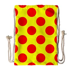 Polka Dot Red Yellow Drawstring Bag (large) by Mariart