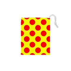 Polka Dot Red Yellow Drawstring Pouches (xs)  by Mariart