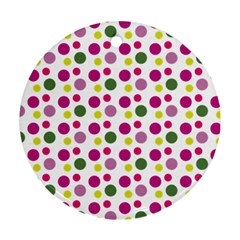 Polka Dot Purple Green Yellow Ornament (round) by Mariart