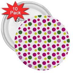 Polka Dot Purple Green Yellow 3  Buttons (10 Pack)  by Mariart