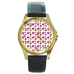 Polka Dot Purple Green Yellow Round Gold Metal Watch by Mariart