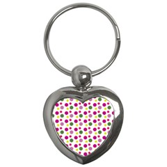 Polka Dot Purple Green Yellow Key Chains (heart)  by Mariart