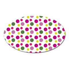 Polka Dot Purple Green Yellow Oval Magnet by Mariart
