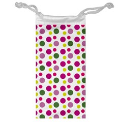 Polka Dot Purple Green Yellow Jewelry Bag by Mariart