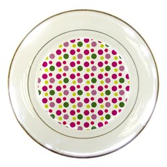 Polka Dot Purple Green Yellow Porcelain Plates by Mariart