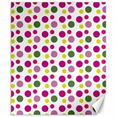 Polka Dot Purple Green Yellow Canvas 8  X 10  by Mariart