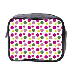 Polka Dot Purple Green Yellow Mini Toiletries Bag 2 Side by Mariart
