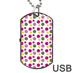 Polka Dot Purple Green Yellow Dog Tag Usb Flash (two Sides) by Mariart
