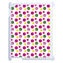 Polka Dot Purple Green Yellow Apple Ipad 2 Case (white) by Mariart