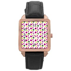 Polka Dot Purple Green Yellow Rose Gold Leather Watch  by Mariart