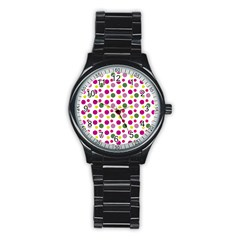 Polka Dot Purple Green Yellow Stainless Steel Round Watch by Mariart